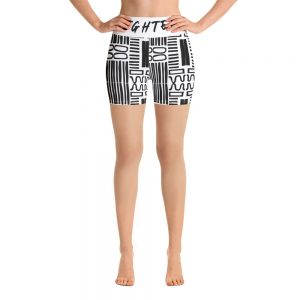 all over print yoga shorts white front 60be8a6b8753c