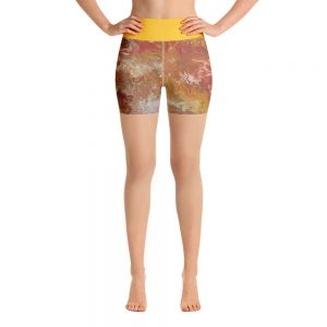 all over print yoga shorts white front 60c629349d08b