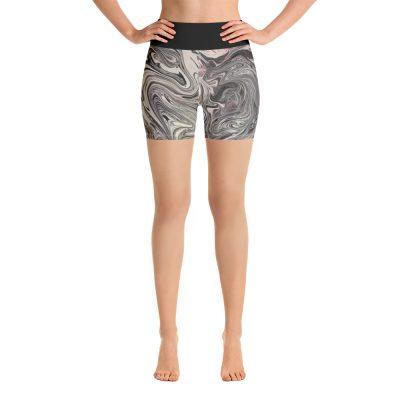 all over print yoga shorts white front 60c63122d3f2e